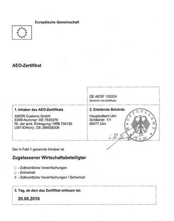 Zollberatung AEO - Zertifizierung